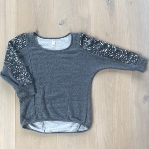 Gray with Silver Sequins 3/4 Sleeve Top Sz. XS
